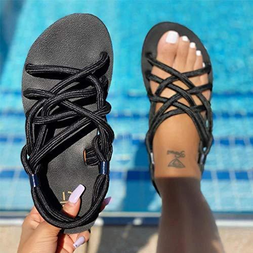 Sandales plates tressées tendance confortables pour la plage, le printemps, les femmes, les sandales mignonnes chaussures décontractées pour femme d'été de plage Slip-on Noir_39