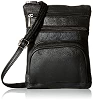 Roma Leathers Genuine Leather Multi Pocket Crossbody Bag (Black)