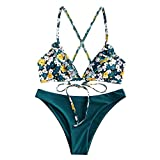 ZAFUL Women's Back Lace-up Swimsuit Flower Print Cheeky Thong Bikini (S, Greenish Blue-Ruffle)