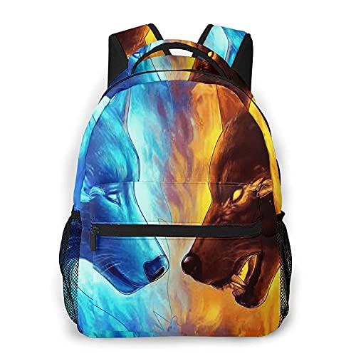 Fire Burning Wolf Water Wolves Mochila Bookbag 16 pulgadas portátil bolsa de hombro casual Daypack para adolescente