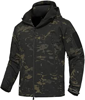 Men's Outdoor Waterproof Soft Shell Hooded Military Tactical Jacket