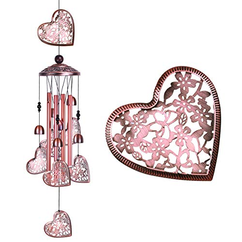 Garden Loving Heart Wind Chimes Outdoor Indoor Decor Handmade Heart Musical Wind Chime Mobile Wind Catcher Romantic Windbell for for Home Mom Gifts Balcony Festival Tree Garden Decoration