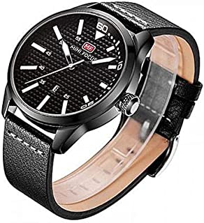 Mini Focus Leather Casual Watch For Men - Black White, MF0021