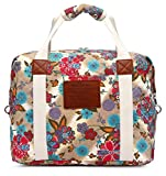 Malirona Ladies Women Canvas Travel Weekender Overnight Carry-on Shoulder Duffel Tote Bag Bohemian Flower
