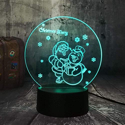 3DSlide led Girl's Night Light Toy Cute Santa Claus and SnowmanUSBTable lamp Merry Christmas Colorful Bedroom Children's Toys Baby Decoration Room