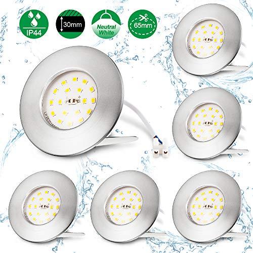 Otour - Foco LED empotrable para baño, ultraplano, 25 mm, incluye 6 módulos LED de 5 W, 230 V, IP44, 4000 K, luz blanca neutra, 500 lm, redondo, foco LED de techo, 6 unidades