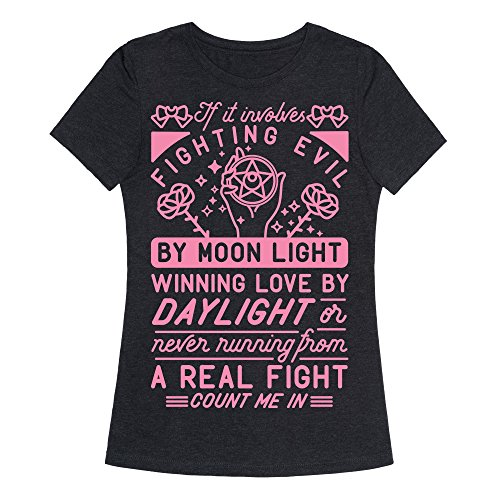 LookHUMAN If It Involves Fighting Evil by Moon Light Heathered Black XL Womens Fitted Triblend Tee