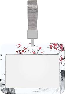 Porte-Badge 4x3 Horizontal Japon Traditionnel Sumie Peinture Travail Porte-Badge D'identification Avec Lanière Style Horiz...
