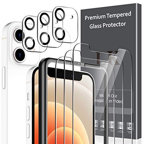 LK Compatible avec iPhone 12 6.1 Pouce,3 Pièces Verre Trempé et 3 Pièces Caméra Arrière Protecteur,Double Protection, Protecteur écran