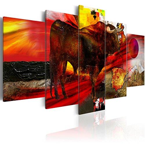 murando - Bilder 200x100 cm Vlies Leinwandbild 5 TLG Kunstdruck modern Wandbilder XXL Wanddekoration Design Wand Bild - Abstrakt Tier STIER bunt g-A-0120-b-m