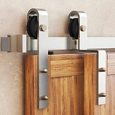 Homacer Sliding Barn Door Hardware Bypass Double Door Kit, 5.5FT Flat Track U-Shape Bracket Arrow Design Roller, Stainless Steel Brushed Nickel Heavy Duty Interior Exterior Use