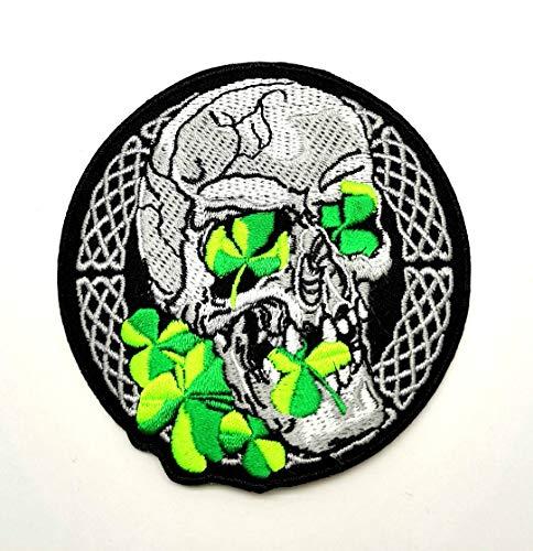 Powerwolf2008 Skull Celtic St. Patrick Irish Clover Four Leaf Lucky Logo Hippie Retro Kid Baby Jacket T-Shirt Back Patch Sew Iron on Embroidered Sign Badge Costume Bike Biker Racing