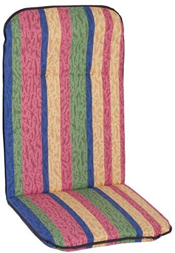 Stuhlkissen für Hochlehner bemustertes mit Längstreifen in rot, gelb, blau und grün