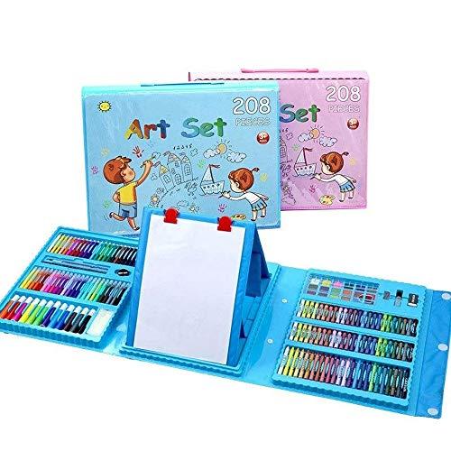 ROGF Marker Aquarell-Zeichnung Art Marker for Kinder Geschenk-Büro Papier- und Schreibwaren 208 Stück Malerei-Kunst-Bürsten-Feder-Set Für Geschenke an die Kinder (Color : Blue, Size : 208 Pcs)