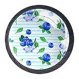 4 pomos y asas para cajones de arándanos con diseño de rayas azules, de cristal, con tornillos, para el hogar, la cocina, la oficina