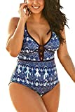 FlatterMe Women's Blue Sexy Plus Size Borderline Batik Print One Piece Swimsuit,Plunge Neckline with Lace Up Detail Swimwear A18034, Blue , XXL/US 20-22
