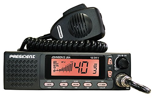 President Electronics Johnson II USA AM Transceiver CB Radio, 40 Channels AM, 12/24V, Up/Down Channel Selector, Volume Adjustment and ON/OFF, Manual Squelch and ASC, Multi-functions LCD Display