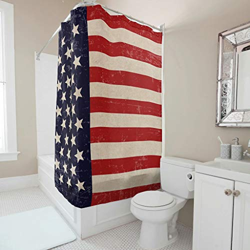 LAOAYI Duschvorhänge America Flag Bedruckt Wasserabweisend Anti-Schimmel Flags Shower Curtain B x H:150x200cm Bad Vorhang mit Vorhanghaken