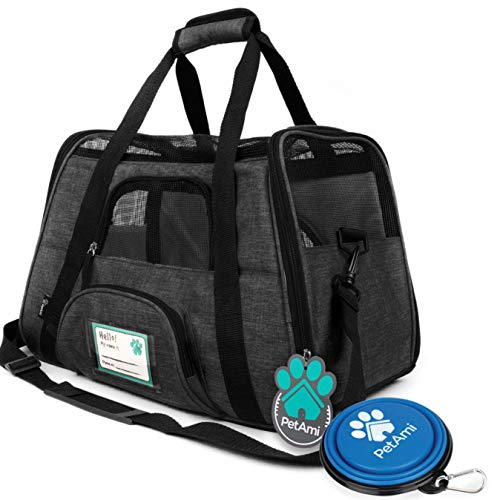 PetAmi Premium Airline Approved Soft-Sided Pet Travel Carrier | Ventilated, Comfortable Design with Safety Features | Ideal for Small to Medium Sized Cats, Dogs, and Pets (Small, Charcoal)