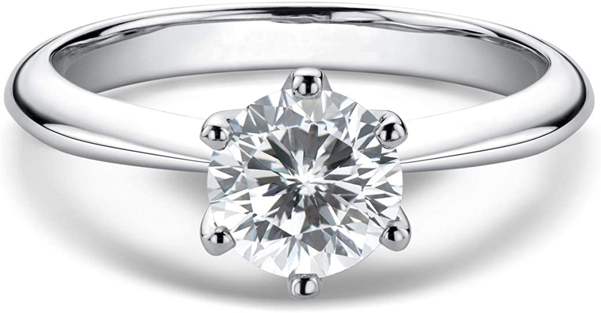 WOAINI 0.5-3 Carat Moissanite Ring Platinum Dallas Mall Sil Japan's largest assortment Plated Sterling