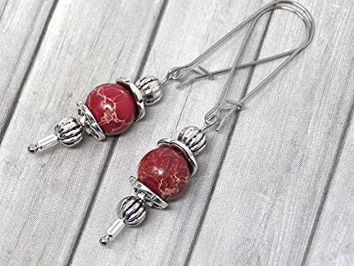Pendientes Thurcolas de estilo vintage en jaspe imperial rojo montados sobre elegantes aros de acero inoxidable