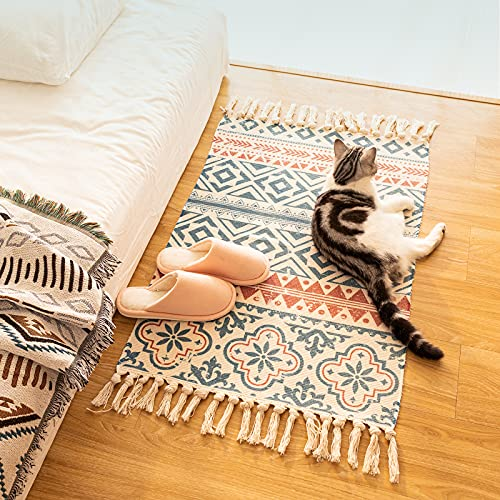 Boho Area Rug 2 x5 with Non-Slip Rug Grippers,Washable Cotton Throw Woven Tesssal Cream-Geometric Printed Runner Rug, for Kitchen Bedroom Hallway Living Room Mat