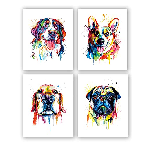 """4 Set Puppy Positive Quote Art Print,Lovely Dog Canvas Wall Art,Pet Canvas Painting Puppy Artwork,Burnese Mountain Dog bright and colorful art print,Colorful and splashy CORGI Art Print,Colorful Golden Retriever Art Print,Colorful Pug Art Print,Watercolor Original Artwork Print For Bedroom(Unframed,8""""X10""""inches)"""