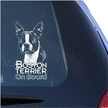Boston Terrier Clear Vinyl Decal Sticker Portrait for Window, Bull Terrier Dog Sign Art Print
