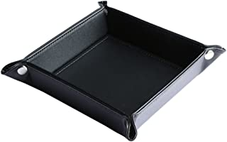 negro Yardwe Joyero de cuero bandeja de llaves clave del tel/éfono caja de monedas bandeja de valet bandeja de almacenamiento junto a la cama
