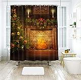 Dreamdge Duschvorhang 180x200 Gelbgrün, Duschvorhang Anti-Schimmel Weihnachtsbaum Kamin Weihnachtskranz