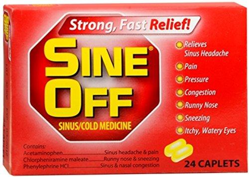 Sine-Off Sine-Off Sinus/Cold Medicine Caplets, 24 each (Pack of 2) by Plus Pharma Corporation