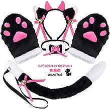 Cat Cosplay Costume Kitten Tail Ears Collar Paws Gloves Anime Lolita Gothic Set (Black +White)