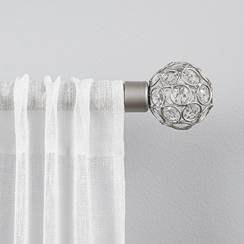 "Exclusive Home Curtains ER1003-01 66120 Rings 1"" Curtain Rod and Finial Set, 66""-120"", Matte Silver"