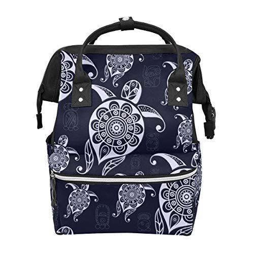 Silvery Folk Art - Bolsa de pañales para niños, diseño de tortuga, bolsa de viaje, bolsa de picnic para maternidad, grande impermeable y duradera, para el cuidado de los niños, mochila escolar