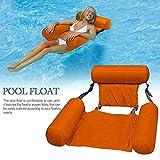 Hamaca para piscina, portátil, plegable, hinchable, colchón de agua, cama de playa, deportes náuticos, tumbona para adultos y niños (naranja)