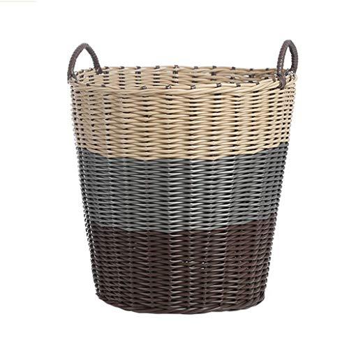 Grote Wasmanden Waterdichte Ronde Plastic Opbergmand - Materiaal Voor Milieubescherming, Uitsparing En Ademend - Bruin Wit