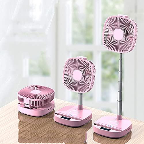 ACEMIC Ventilador Vertical Plegable,Ventilador De Pie Silencioso con Mando Ventilador De Mesa Función 8 en 1 Pantalla LCD LED con Altavoz Bluetooth Batería 10000Mah Alimentado por USB,Rosado