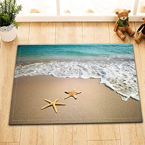 Estrella del mar en la playa Interior antideslizante puerta estera, alfombra de baño, patrón de alta definición 45* 75cm, decoración del hogar