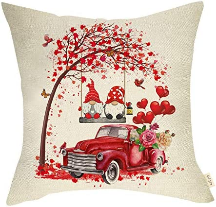 Fjfz Valentines Day Farmhouse Decorative Throw Pillow Cover Vintage Red Truck Rose Red Heart product image