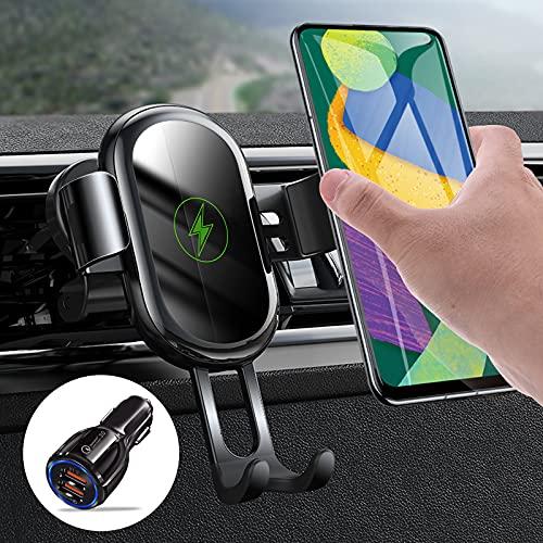 Chargeur Induction Voiture 15W Qi, ROCK Chargeur sans Fil de Voiture Rapide avec QC3.0 Chargeur Allume Cigare USB Support Téléphone Voiture Gravité Compatible with iPhone 13 12 Pro Max Samsung Huawei