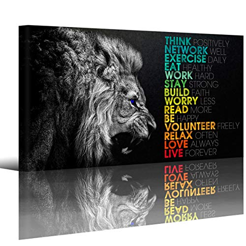 Animal Lion Canvas Wall Art Motivational Inspirational Quotes Picture Canvas Prints with Frame, Wall Art Decorative,1inch Thick Frame