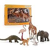XIAOKEKE 6 Piezas Juego De Juguetes De Muñecas De Animales Salvajes, con Modelos De Muñecas De Elefante, Leopardo, Tigre, Pangolín, Regalos De Fiesta para Niños