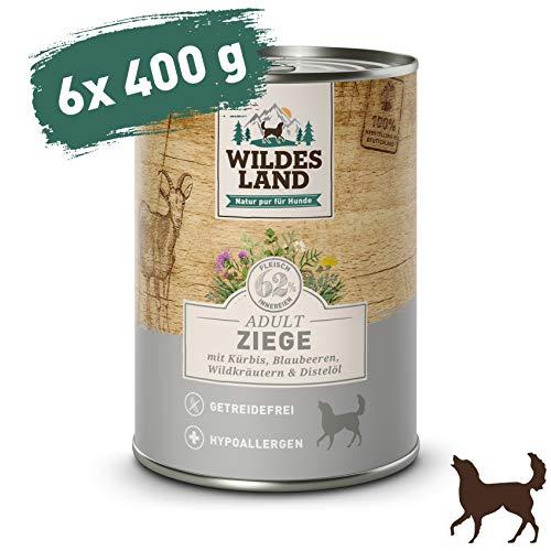 Wildes Land   Nassfutter für Hunde   Ziege   6 x 400 g   mit Kürbis, Blaubeeren, Wildkräutern und Distelöl   Glutenfrei   Extra viel Fleisch   Beste Akzeptanz und Verträglichkeit