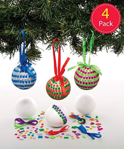 Baker Ross AT196 Bastelset Mosaik-Christbaumkugeln (4 Stück) -Weihnachten Kunst und Basteln für Kinder, Sortiert