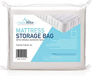 CalmNite Extra Thick Mattress Storage Bags for Moving and Storing - Clear 4 MIL Plastic - Protects Bedding and Furniture f...