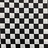 Kt KILOtela Tela de loneta Estampada - Retal de 100 cm Largo x 280 cm Ancho | Cuadros - Blanco, Negro ─ 1 Metro