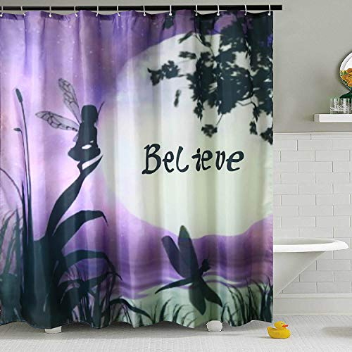 Shower Curtain Liner Purple Dragonfly Fabric Water Resistant Bath Curtains with 12 Hooks for Bathroom Home Decorations (Style 2, 72' W×72' L)