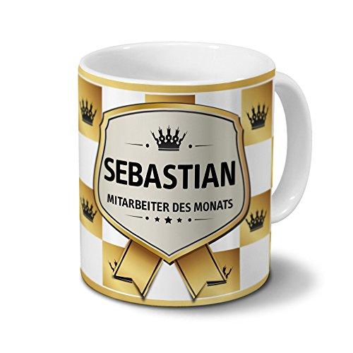printplanet Tasse mit Namen Sebastian - Motiv Mitarbeiter des Monats - Namenstasse, Kaffeebecher, Mug, Becher, Kaffeetasse - Farbe Weiß