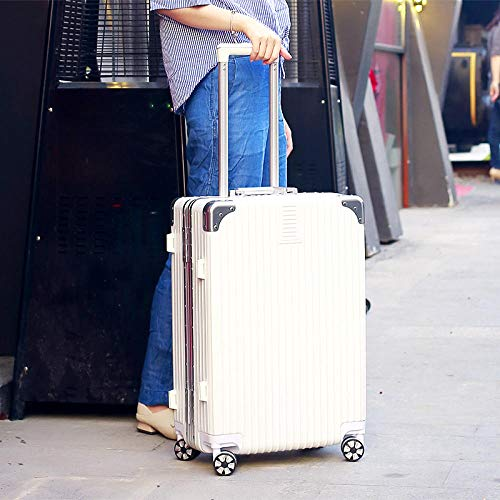 Trolley Kofferset Reisekoffer Set mit Rollen,Aluminum alloy rod ABS universal wheel right angle aluminum frame luggage@Ivory white high-end diamond aluminum frame_22 inches,Trolley-Koffer mit