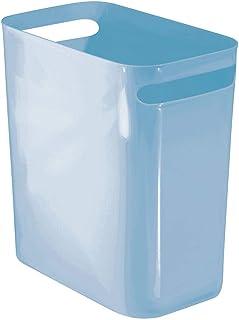 mDesign Slim Plastic Rectangular Trash Can Wastebasket, Garbage Container Bin with Handles for Bathroom, Kitchen, Home Off...